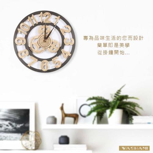 WASHAMl-簡約質感風格掛鐘(工業風數字金色L號45CM)