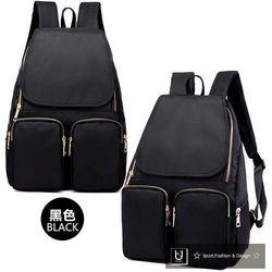 【US.STYLE】韓版牛津布純色設計雙口袋後背包