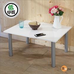 BuyJM 鏡面白低甲醛鐵腳茶几桌/和室桌(80*60公分)
