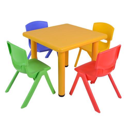 《WSH》韓式撞色多彩兒童遊戲桌椅(一桌四椅)