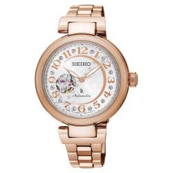 SEIKO精工 LUKIA 星月鏤空機械女錶 銀x玫塊金 34mm 4R38-01L0K SSA826J1