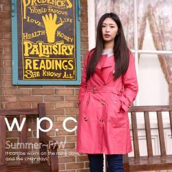w.p.c.時尚雨衣/風衣 雙排釦款R1019-桃紅圓領