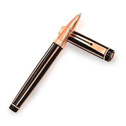 MITIQUE美締克 Voyageur 穿梭者系列 尊爵黑直線紋玫瑰金夾鋼珠筆