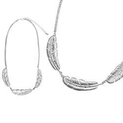 【摩達客】立體落羽造型銀色項鍊