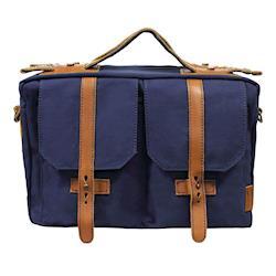 吉尼佛 JENOVA 68002 復古型攝影背包(中)_寶藍色