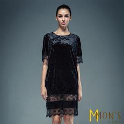 MONS高貴黑銀絲絨蕾絲洋裝