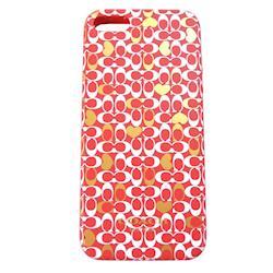 COACH 經典滿版 LOGO iPhone 5 手機保護殼(紅)