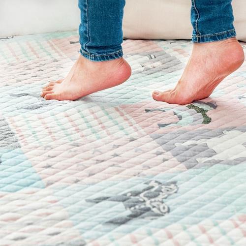 北歐全棉布藝絎縫墊可機洗手洗防滑床墊地墊地毯90x160cm/