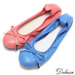 【Deluxe】全真皮舒適透氣超柔軟蝴蝶結娃娃鞋(紅☆藍)-008-70