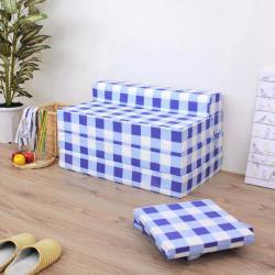 【藍白方格】四折式沙發床/沙發椅-坐高40 床長200公分