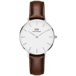 DW Daniel Wellington 經典布里斯托黑棕色皮帶腕錶-銀框/32mm(DW00100183)