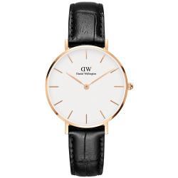 DW Daniel Wellington 經典雷丁黑色壓紋皮帶腕錶-金框/32mm(DW00100173)