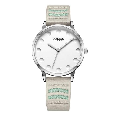 【JULIUS】愛不離手圓點刻度刺繡皮錶帶腕錶(五色/26mm)