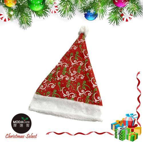【摩達客】耶誕派對-白綠花紋紅色聖誕帽