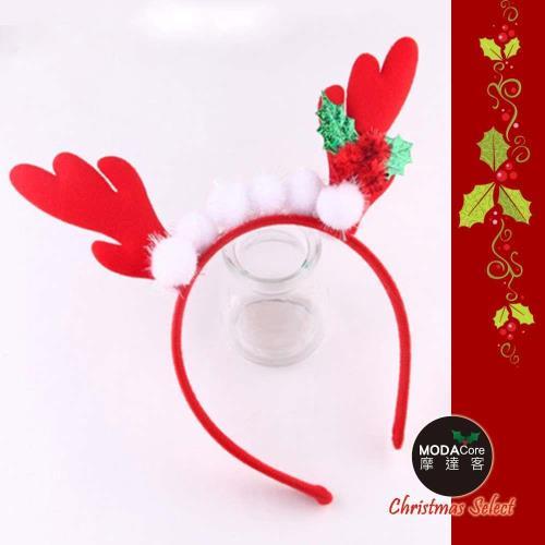 【摩達客】小白毛球紅鹿角聖誕髮箍