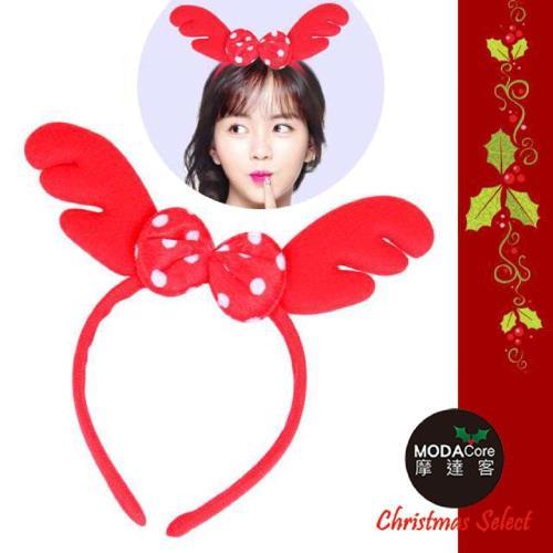 【摩達客】超萌聖誕紅圓點蝴蝶結鹿角髮箍
