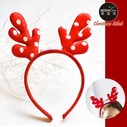 【摩達客】可愛聖誕紅色圓點鹿角髮箍
