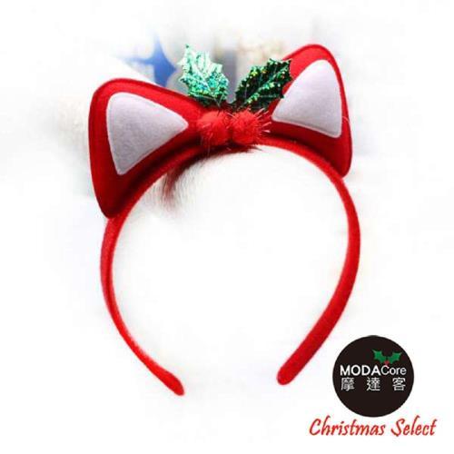 【摩達客】聖誕派對-聖誕紅貓耳髮箍