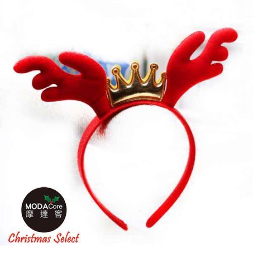 摩達客 聖誕派對-紅金皇冠鹿角髮箍頭飾