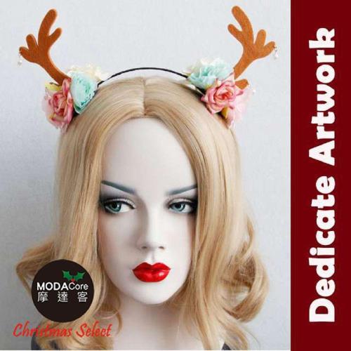【摩達客】質感聖誕麋鹿角花浪漫造型髮箍