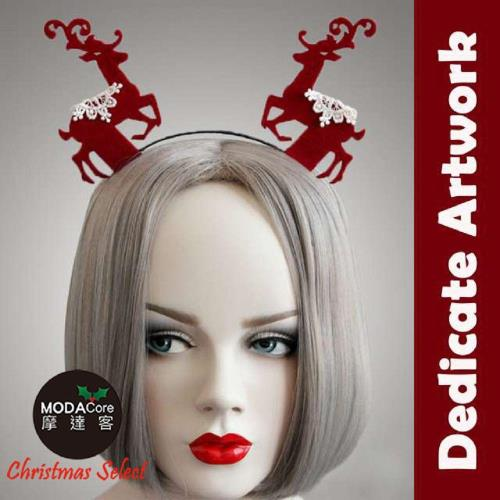 【摩達客】質感蕾絲聖誕麋鹿造型髮箍