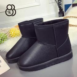88% 冬季皮面防潑水雪地靴短筒保暖雪地止滑雪靴短靴情侶鞋女加大尺碼