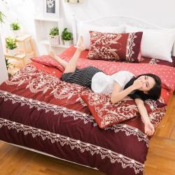eyah宜雅 全程台灣製100%頂級精梳棉雙人加大床包枕套三件組-法國洛可可的浪漫-暗紅