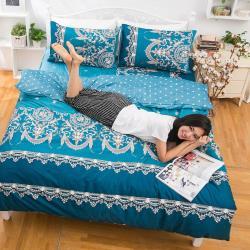 eyah宜雅 全程台灣製100%頂級精梳棉雙人加大床包枕套三件組-法國洛可可的浪漫-藍