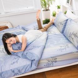 eyah宜雅 全程台灣製100%頂級精梳棉單人床包二件組-與你在夢里相遇-海洋藍