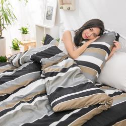 eyah宜雅 全程台灣製100%頂級精梳棉單人床包二件組-黑白年少不識愁滋味