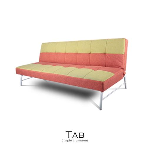 沙發床 Tab綠橘撞色布沙發床【obis】