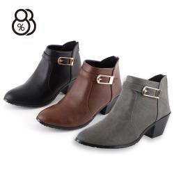 88%個性靴子秋冬5.5CM粗跟短靴切爾西靴中跟尖頭後拉鍊