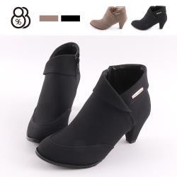 88%百搭絨面靴子7CM高跟粗跟尖頭側拉鏈短靴MIT台灣製