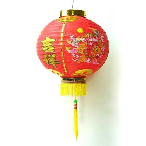 【摩達客】農曆春節元宵 10吋恭喜發財吉祥如意紅綢布燈籠(一組兩入)