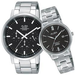 ALBA雅柏 東京流行三眼時尚對錶(黑/42+30mm) VD53-X296D+VJ22-X267D