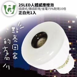 【U want】25節能減碳LED感應燈泡( 插頭型/正白光)