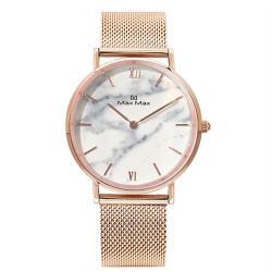 【Max Max】時尚大理石紋米蘭帶腕錶-玫瑰金/36mm(MAS7025-6)