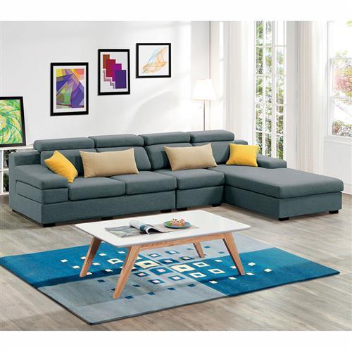 H&D 伊麻L型藍色布沙發-左L全組