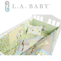 L.A. Baby 貓頭鷹純棉八件組寢具 M(枕頭+枕套+雙床圍+床罩+床裙+空調被+被芯)