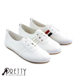 Pretty 雙線條假鞋帶休閒鞋/小白鞋BA-2581A