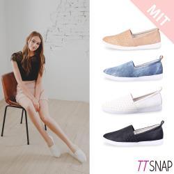 TTSNAP-MIT輕巧透氣休閒懶人鞋( 黑/白/藍/粉)