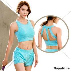 Naya Nina 極簡美背透氣涼感運動無鋼圈內衣M~XL(藍綠)
