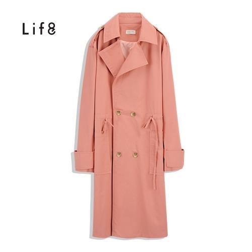 Life8-腰部抽繩長版率性風衣-女-51452/