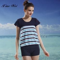 泳之美品牌 時尚簡約二件式短袖泳裝 NO.28202