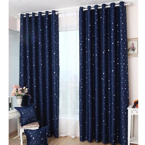 傢飾美 滿天亮星星打孔式遮光窗簾_150x170cm