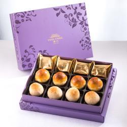 漢坊 臻饌 綜合12入禮盒★2盒★鳳梨酥*4+蛋黃酥*4+漢坊金沙小月*4(蛋奶素)紫