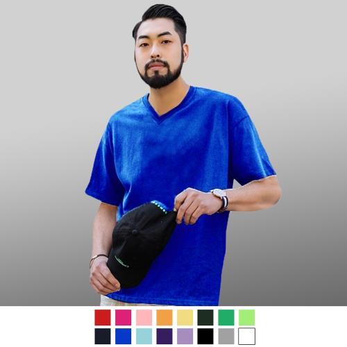 男人幫-加大碼韓國版型100%純棉高磅數厚款素色V領T恤/