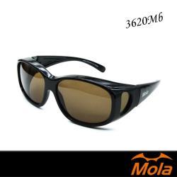 MOLA 摩拉全包覆式偏光太陽眼鏡/套鏡 UV400 男女近視可戴-3620Mb