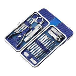 LISAN -18件式高級不鏽鋼指甲剪護理套組(四色可選)-1入