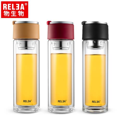 RELEA物生物 310ml旅行家雙層耐熱玻璃杯 (共三色)